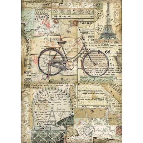 Papier de riz Stamperia 21x29,7cm Bicyclette