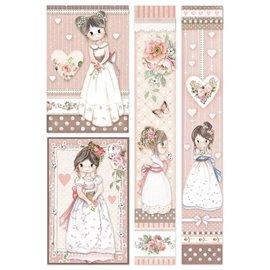 Papier de riz Stamperia 21x29,7cm Petites filles encadré