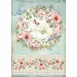 Papier de riz Stamperia 21x29,7cm Rose et Papillon