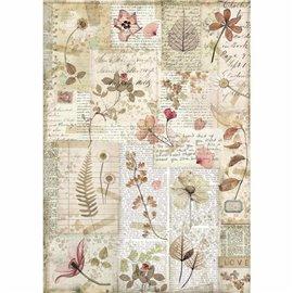 Papier de riz Stamperia 21x29,7cm Fleurs pressées