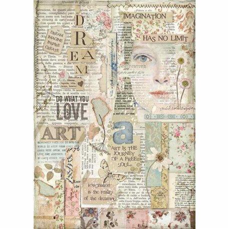 Papier de riz Stamperia 21x29,7cm Love Art