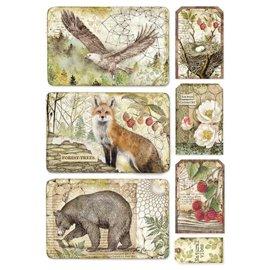 Papier de riz Stamperia 21x29,7cm aigle encadré ours et renard