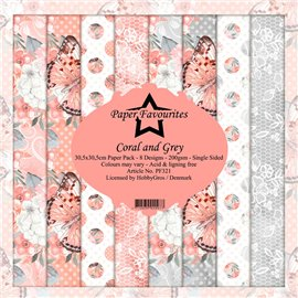 Papier scrapbooking assortiment Dixi Craft Paper Favourites coral and grey 30x30 8fe