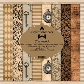 Papier scrapbooking assortiment Dixi Craft Paper Favourites steampunk 15x15 24fe