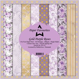 Papier scrapbooking assortiment Dixi Craft Paper Favourites gold purple roses 15x15 24fe