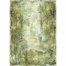 Papier de riz Stamperia 42x30cm forêt verte