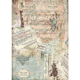 Papier de riz Stamperia 42x30cm Musique Notes