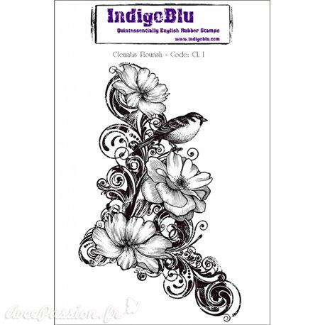 Tampon caoutchouc IndigoBlu Clematis Flourish A6