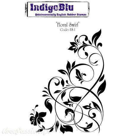 Tampon caoutchouc IndigoBlu Floral Swirl A6