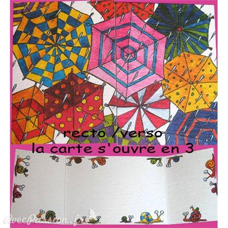 Carte postale parapluie cache cache
