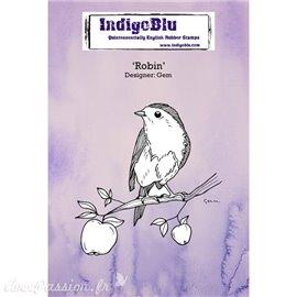 Tampon caoutchouc IndigoBlu Robin oiseau A6