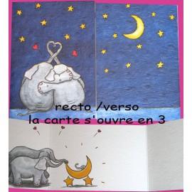 Carte postale éléphant amours cache cache