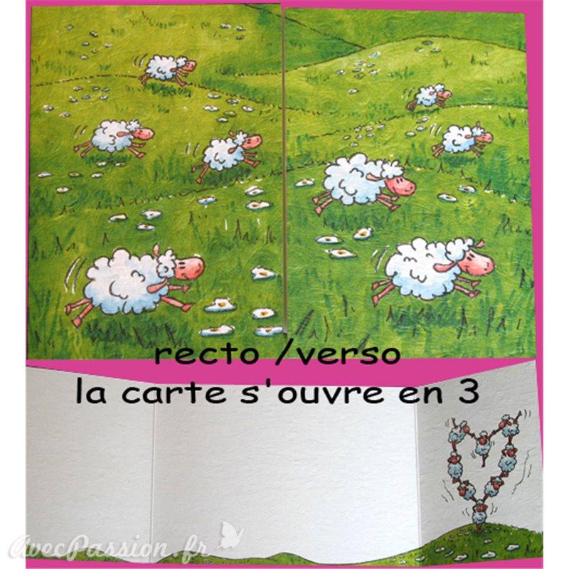 carte postale encadrement amour moutons cache cache. Black Bedroom Furniture Sets. Home Design Ideas