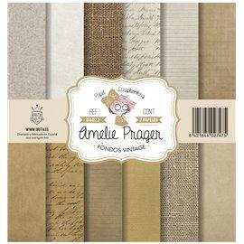 Papier scrapbooking assortiment Amelie Prager fondos vintage 7fe 30x30