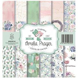 Papier scrapbooking assortiment Amelie Prager coctel de cactus 7fe 30x30
