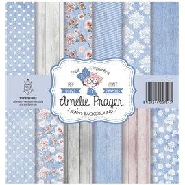 Papier scrapbooking assortiment Amelie Prager jeans background 7fe 30x30