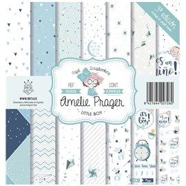 Papier scrapbooking assortiment Amelie Prager little boy 8fe 30x30