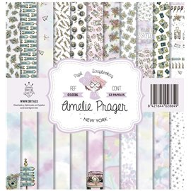 Papier scrapbooking assortiment Amelie Prager new york 12fe 30x30