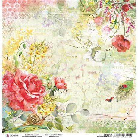 Papier scrapbooking réversible Ciao Bella Micro Cosmos roses 30x30