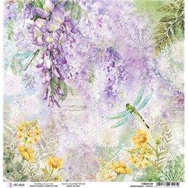 Papier scrapbooking réversible Ciao Bella Micro Cosmos wisteria 30x30