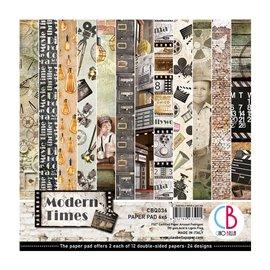 Papier scrapbooking 15x15 assortiment Ciao Modern Times 24f