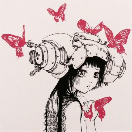 Carte postale Camilla d'Errico fille et papillons rose