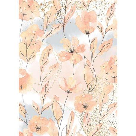 Papier de riz Stamperia 21x29,7cm aquarelle flowers