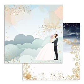 Papier scrapbooking réversible Stamperia doube face 30x30 clouds