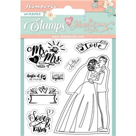 Tampon clear stamps motifs Mr and Mrs 8 tampons Stamperia