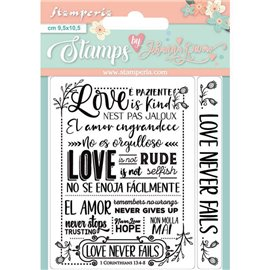 Tampon clear stamps motifs love never fails 2 tampons Stamperia