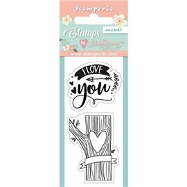 Tampon clear stamps motifs love you 2 tampons Stamperia