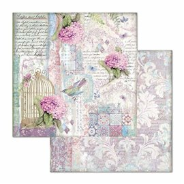 Papier scrapbooking réversible Stamperia doube face 30x30 cage and birds