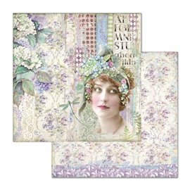 Papier scrapbooking réversible Stamperia doube face 30x30 lady