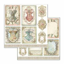 Papier scrapbooking réversible Stamperia doube face 30x30 corsets