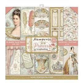 Papier scrapbooking assortiment Stamperia princess 10f recto verso 30x30