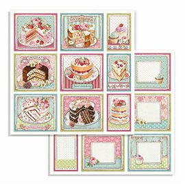 Papier scrapbooking réversible Stamperia doube face 30x30 cakes