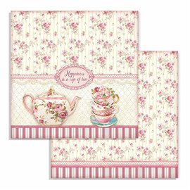 Papier scrapbooking réversible Stamperia doube face 30x30 cup of tea
