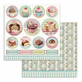 Papier scrapbooking réversible Stamperia doube face 30x30 mini cakes rounds