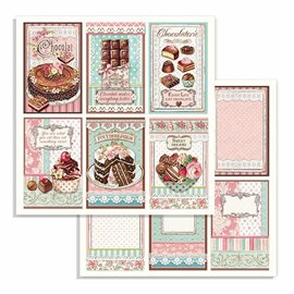 Papier scrapbooking réversible Stamperia doube face 30x30 chocolate cards