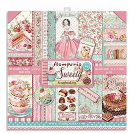 Papier scrapbooking assortiment Stamperia sweety 10f recto verso 30x30