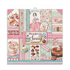 Papier scrapbooking assortiment Stamperia 10f recto verso 20x20 sweety