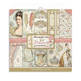 Papier scrapbooking assortiment Stamperia 10f recto verso 20x20 princess