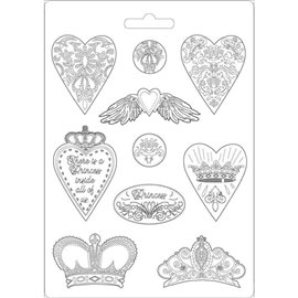 Moule décoratif thermoformé Stamperia sweety stampo hearts and crowns