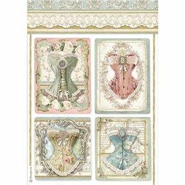 Papier de riz Stamperia 21x29,7cm corsets
