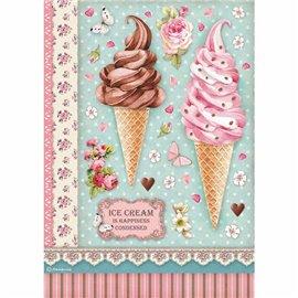 Papier de riz Stamperia 21x29,7cm ice cream