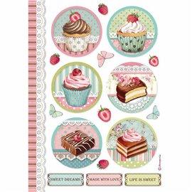 Papier de riz Stamperia 21x29,7cm round mini cake
