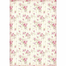 Papier de riz Stamperia 21x29,7cm rose wallpaper