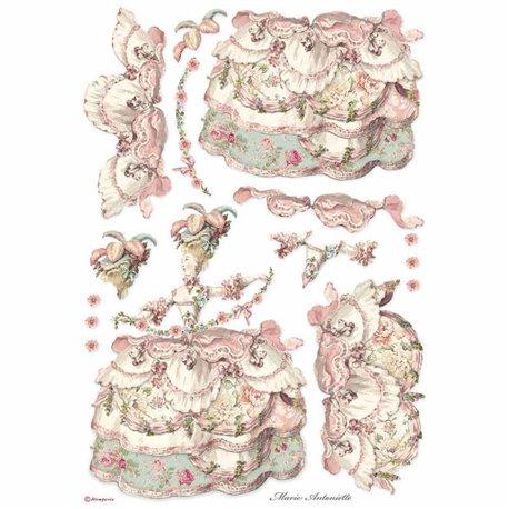 Papier de riz Stamperia 42x30cm lady pink