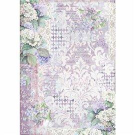 Papier de riz Stamperia 42x30cm hortensia wallpaper