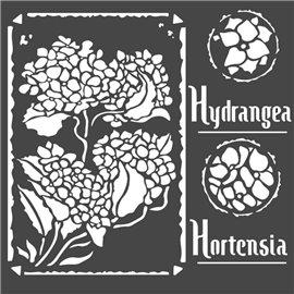 Pochoir décoratif Stamperia hortensia frame 18x18cm